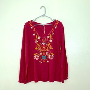 Jodifl maroon floral embroidery top size medium!